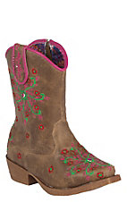 M&F Blazin Roxx Toddler Brown w/Pink Embroidery Zip Snip Toe Western Boots