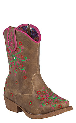 Blazin Roxx Toddler Brown with Pink Embroidery Zip Snip Toe Western Boots