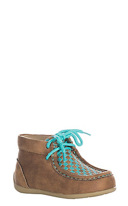 Double Barrel Toddler Fawn and Blue Turquoise Handwoven Chukka Shoe