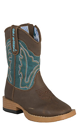 Double Barrel Toddler Brown with Teal Top Zip Square Toe Western Boots