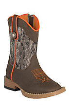 Double Barrel Toddler Brown w/Camo Buckshot Top Square Toe Western Boots