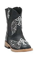 Blazin Roxx Toddler Gracie Black w/ Silver Wing Cross Zip Square Toe Western Boots