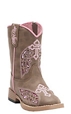 M&F Blazin Roxx Toddler Gracie Brown w/ Pink Wing Cross Zip Square Toe Western Boots