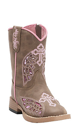 Blazin Roxx Toddler Gracie Brown with Pink Wing Cross Zip Square Toe Western Boots