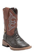 Double Barrel by M&F Toddler Bronc Chocolate Gator Print with Rust Top Zip Square Toe Western Boots