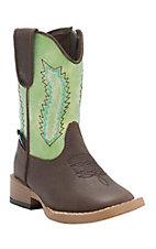 Double Barrel by M&F Toddler Wyatt Brown w/ Green Top Zip Square Toe Western Boots