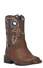 Double Barrel by M&F Toddler Dylan Rust w/ Brown Top Zip Square Toe Western Boots