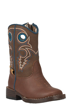 Double Barrel by M&F Toddler Dylan Rust with Brown Top Zip Square Toe Western Boots