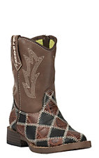 M&F Double Barrel Toddler Black & Brown Patwork w/ Brown Top Zip Square Toe Western Boots
