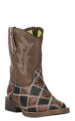 Double Barrel Toddler Black & Brown Patchwork with Brown Top Zip Square Toe Western Boots