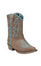 Blazin Roxx Toddler Brown with Turquoise Stitch Western Snip Toe Boots