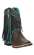 M&F Toddler Brown with Turquoise Fringe Square Toe Boots