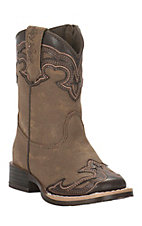Blazin Roxx Toddler Tan with Brown Accent Square Toe Boots