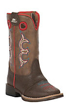 Double Barrel by M&F Toddler Brown with Coral Trim Square Toe