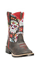 Blazin Roxx Toddler Brown with Black Sugar Skull Print Upper Western Square Toe Boots