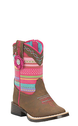 Blazin Roxx Toddler Brown with Serape Print Upper Western Square Toe Boots