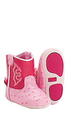 Blazin Roxx by M&F Infant Kinsley Pink Ostrich Print Western Booties