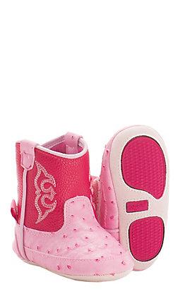 Blazin Roxx Infant Kinsley Baby Bucker Pink Ostrich Print Western Booties