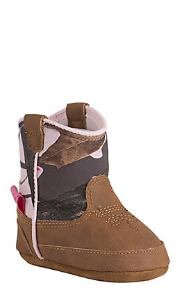 d71f39a6f15b5 Blazin Roxx by M&F Infant Jobie Brown & Pink Camo Western Booties
