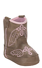 M&F Infant Tan with Pink Cross Embroidery Baby Bucker Gracie Boots