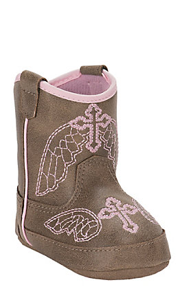 Blazin Roxx Infant Tan with Pink Cross Embroidery Baby Bucker Gracie Boots