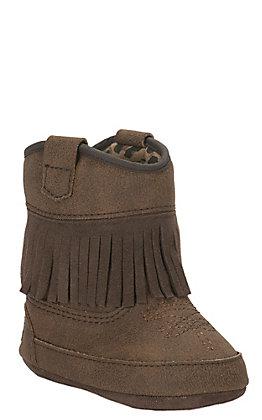 Blazin Roxx Infant Annabelle Baby Bucker Brown with Fringe Western Boots