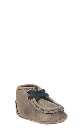 Double Barrel Western Infant Brown with Navy Laces Moccasins