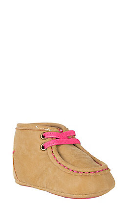 Blazin Roxx Infant Baby Buckers Tan with Pink Lace Moccasin
