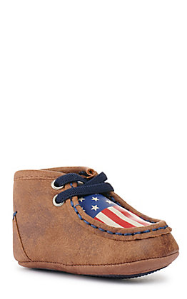 Blazin Roxx Infant Lincoln Baby Bucker Brown with Flag Moc Casual Shoe