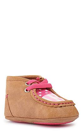 Blazin Roxx Infant Monroe Baby Bucker Brown with Pink Flag Moccasin Casual Shoe