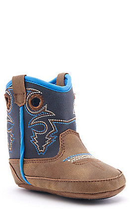 Twister Infant Ben Baby Bucker Brown and Navy Round Toe Western Boots