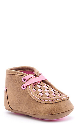 Twister Infant Lauren Baby Bucker Brown and Pink Glitter Woven Moc Shoes