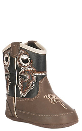Double Barrel Infant Baby Bucker Brown and Black Western Booties