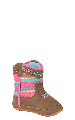 Double Barrel Infant Baby Bucker Tan and Pink Serape Print Western Booties