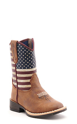 Twister Toddler Brown and USA Flag Square Toe Western Boots