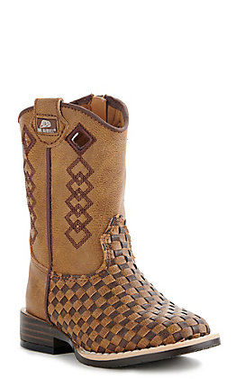 M&F Toddler Brown and Tan Patchwork Basketweave Wide Square Toe Boots
