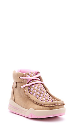 Twister Toddler Brown and Pink Glitter Woven Light Up Moc Toe Shoes