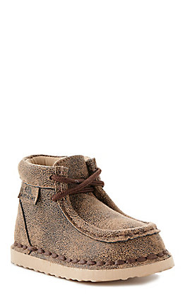 M&F Toddler Brown Casual Lace Up Shoe