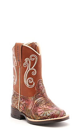 Twister Toddler Multi Color Embossed & Rust Square Toe Western Boots