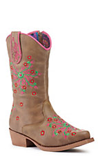 Blazin Roxx Kid's Tan with Floral Embroidery Snip Toe Western Boots