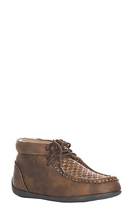 Double Barrel Kids Cocoa and Camel Handwoven Chukka Shoe