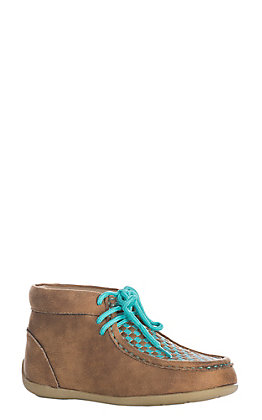 Double Barrel Kids Fawn and Blue Turquoise Handwoven Chukka Shoe