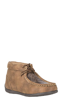 DBL Barrel Kids' Tan Vintage with Brown Embossed Inlay Casual Chukka Shoe