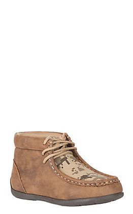 DBL Barrel Kids' Tan Vintage with Digital Camo Inlay Casual Chukka Shoe
