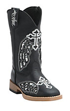 Blazin Roxx Girl's Gracie Black w/ Silver Wing Cross Zip Square Toe Western Boots