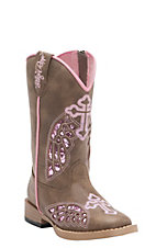 Blazin Roxx Girl's Gracie Brown w/ Pink Wing Cross Zip Square Toe Western Boots