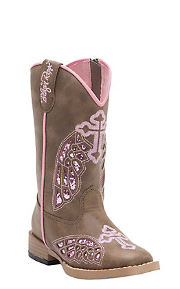Blazin Roxx Girl's Gracie Brown with Pink Wing Cross Zip Square Toe Western Boots