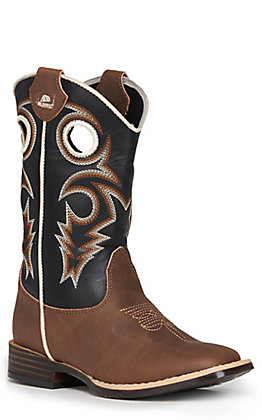 Double Barrel by M&F Kids Brown with Black Upper Square Toe Boots