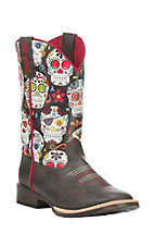 Blazin Roxx Kids Brown with Black Sugar Skull Print Upper Western Square Toe Boots
