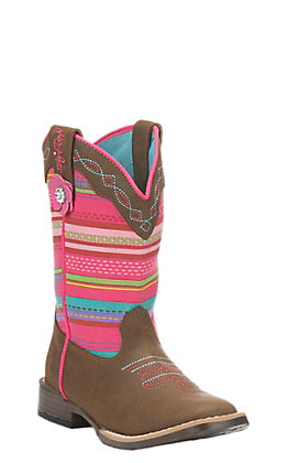 Blazin Roxx Kids Brown with Serape Print Upper Western Square Toe Boots